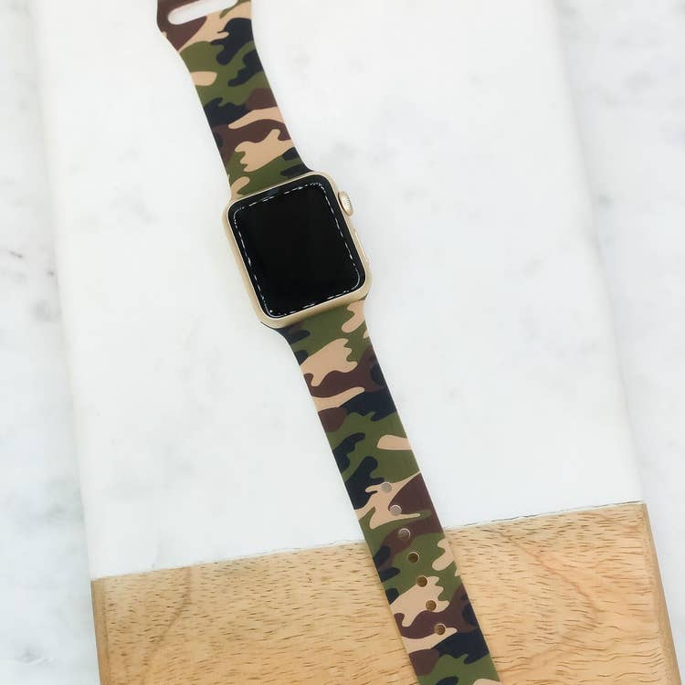 Green Camo Silicone Watch Band