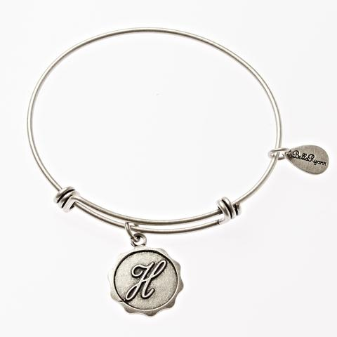 Letter H - Expandable Bangle Charm Bracelet in Goldtone and Silvertone
