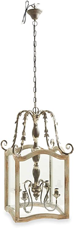 "Rustic Cream Wood & Metal Lantern Chandelier (4 Bulbs) 32"" *Pick up only*"