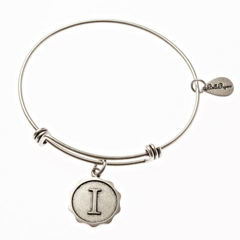 Letter I - Expandable Bangle Charm Bracelet in Goldtone and Silvertone