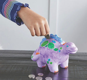 Paint Your Own Porcelain Dinosaur Bank