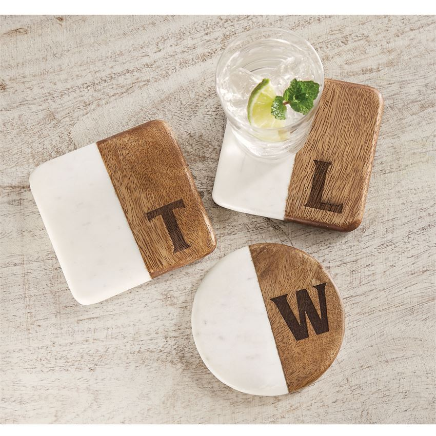 Wood & Marble Initial Coaster Set