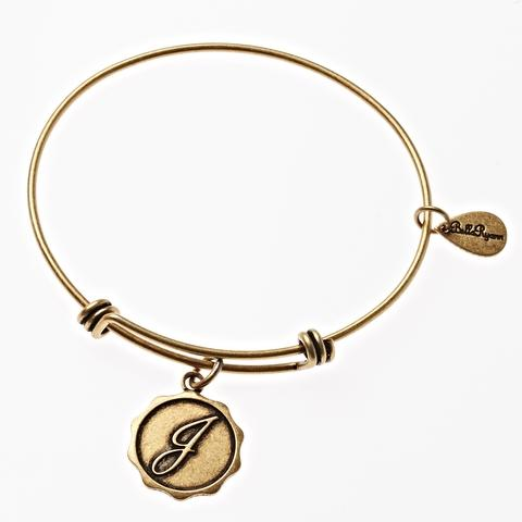 Letter J - Expandable Bangle Charm Bracelet in Goldtone and Silvertone