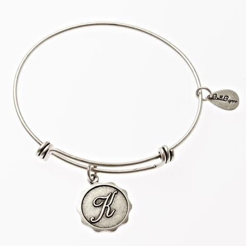 Letter K - Expandable Bangle Charm Bracelet in Goldtone and Silvertone