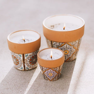 Swan Creek Small Round Flower Pot Candles - Assorted Patterns