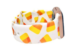 White & Candy Corn Printed Apple Watch Band
