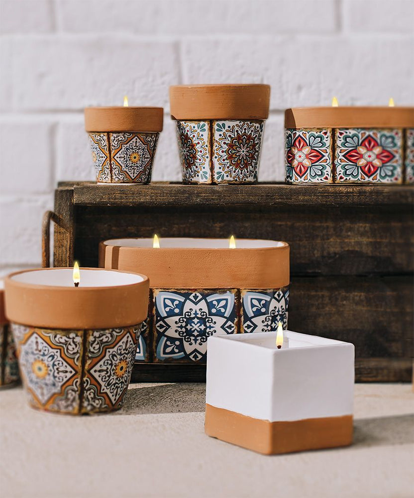 Swan Creek Large Oval Flower Pot Candles - Assorted Patterns