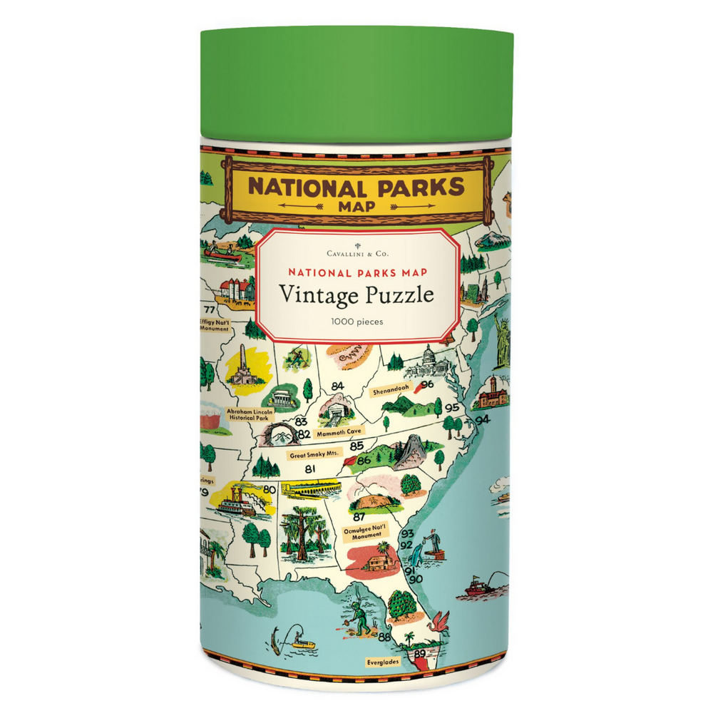 Cavallini & Co. National Parks Map 1000 Piece Vintage Puzzle