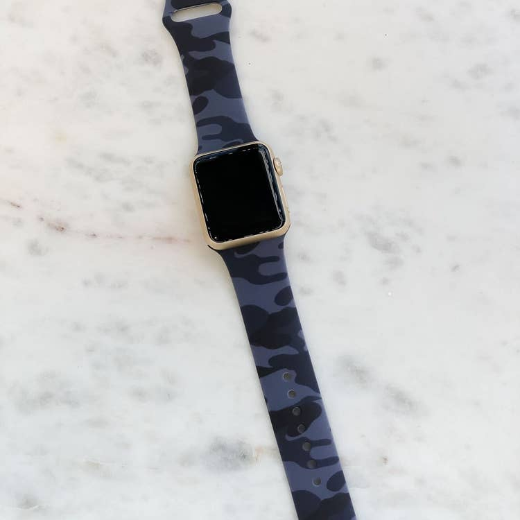 Navy Blue Camo Silicone Watch Band
