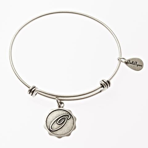 Letter O - Expandable Bangle Charm Bracelet in Goldtone and Silvertone