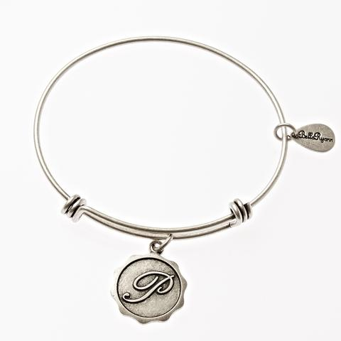 Letter P - Expandable Bangle Charm Bracelet in Goldtone and Silvertone