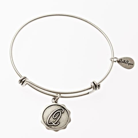 Letter Q - Expandable Bangle Charm Bracelet in Goldtone and Silvertone