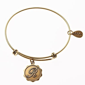Letter R - Expandable Bangle Charm Bracelet in Goldtone and Silvertone
