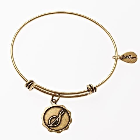 Letter S - Expandable Bangle Charm Bracelet in Goldtone and Silvertone