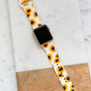 Sunflowers on White Silicone Watch Band