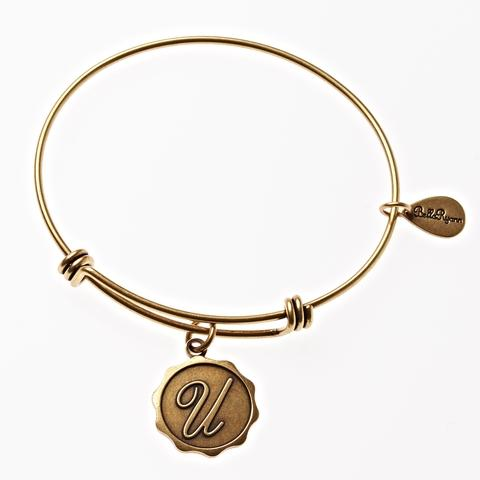 Letter U - Expandable Bangle Charm Bracelet in Goldtone and Silvertone