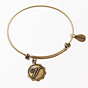 Letter V - Expandable Bangle Charm Bracelet in Goldtone and Silvertone