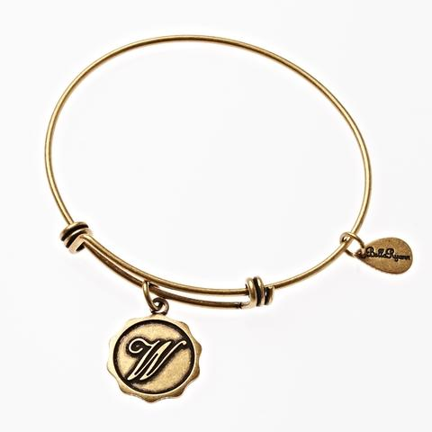 Letter W - Expandable Bangle Charm Bracelet in Goldtone and Silvertone