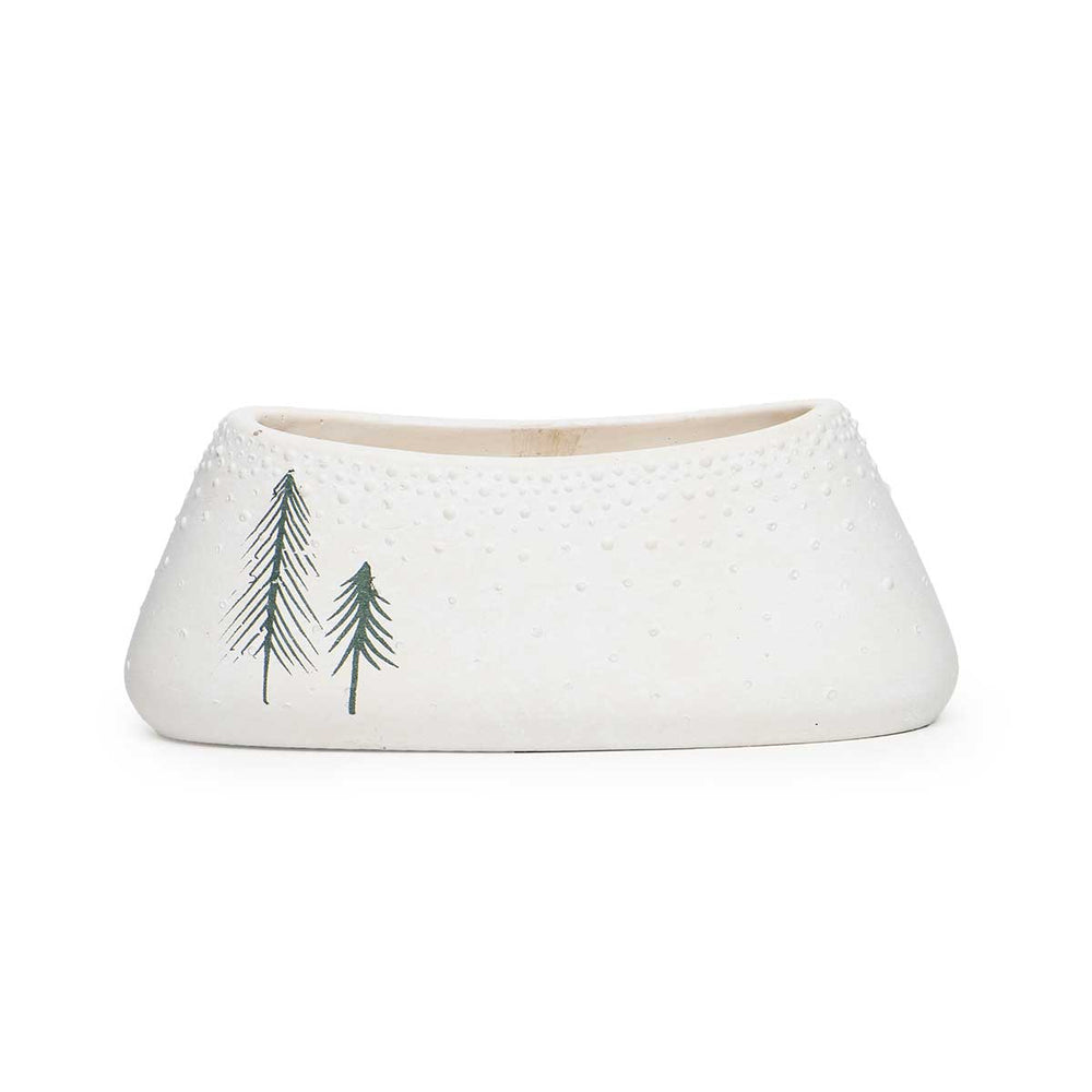 Small White Oval Concrete Pot with Trees R7887