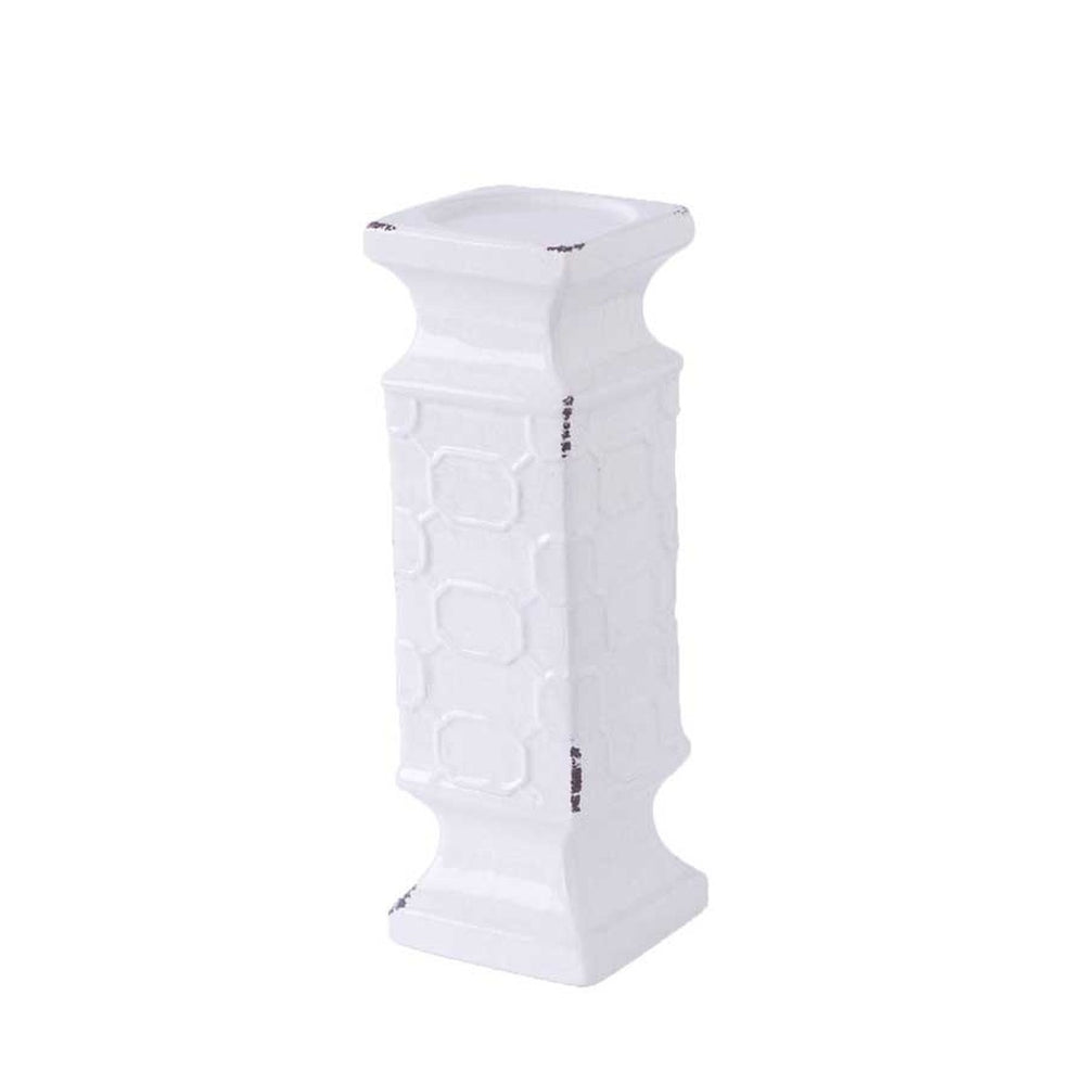 "Load image into Gallery viewer, White Ceramic Square Candleholder 12"" *Pick up only*"
