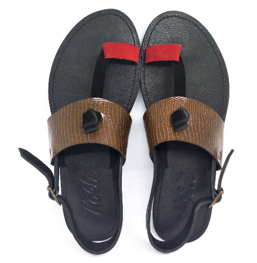 LULU SANDALS (RED_LIZ BROWN/BLACK)