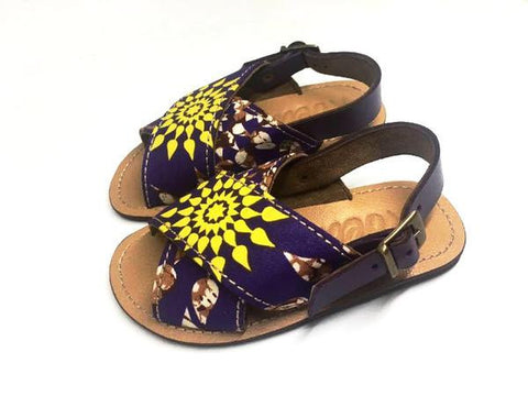 YVONNE KIDS SANDALS (PURPLE_Y ANKARA/TAN)