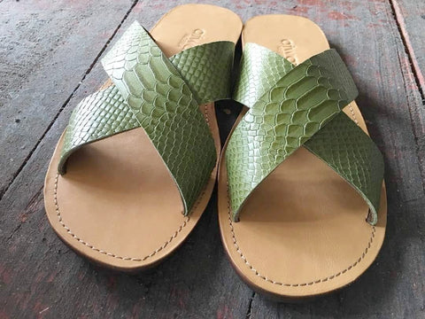 CROSS (GREEN CROC/TAN)