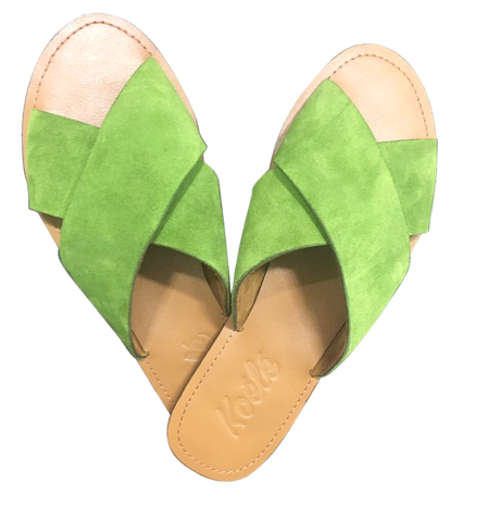 YVONNE (GREEN SUEDE/TAN)