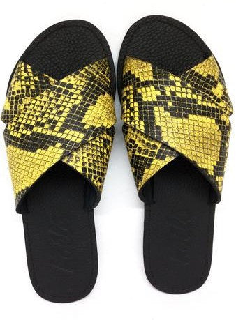 YVONNE (YELLOW SNAKE-SKIN/BLACK)