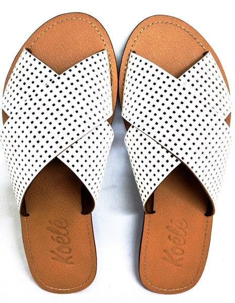 YVONNE (PERFORATED WHITE/TAN)