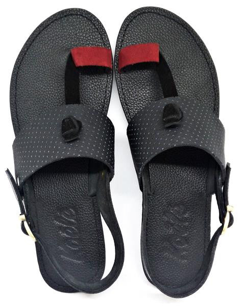 LULU SANDALS (RED_PERFORATED BLACK/BLACK)