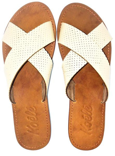CROSS (CREAM PERFORATED/D.BROWN)