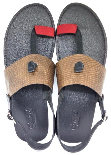 BRIDGE TOEHOLD SANDALS (BROWN_BLK_RED/BLACK)