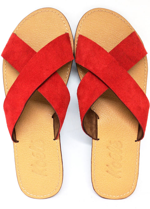 CROSS (RED SUEDE/TAN)