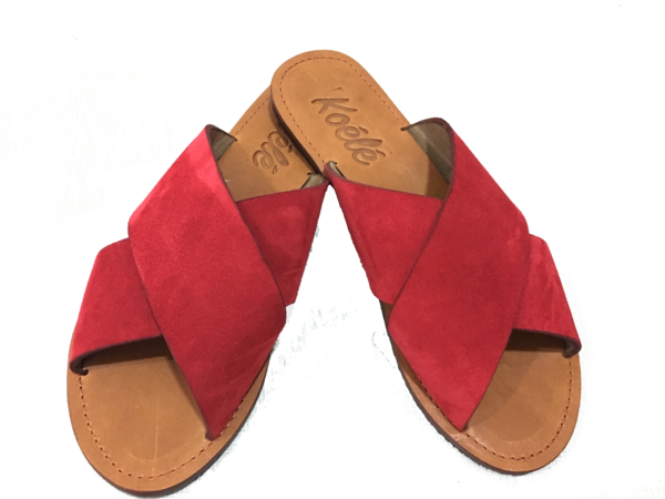 YVONNE (RED SUEDE/D.BROWN)