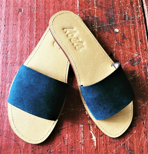 TRICIA (NAVY BLUE SUEDE/TAN)