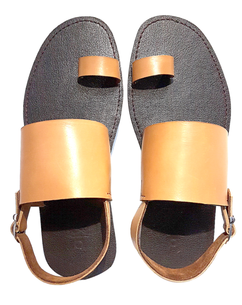 BOLD TOEHOLD SANDALS (TAN/CHOC)