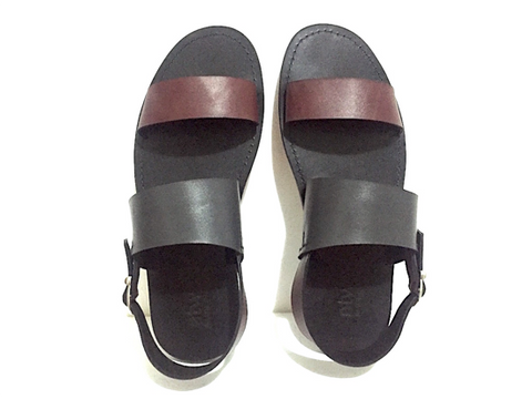 SLIM DOUBLE-UP SANDALS (BURGUNDY_GREY/GREY)