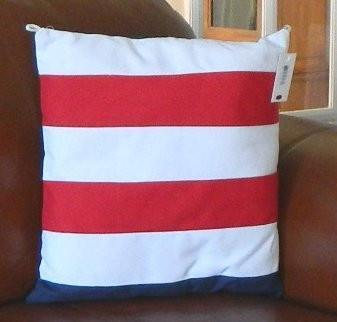 Nautical Decor - 1413 Nautical Pillow With Red And White Stripes