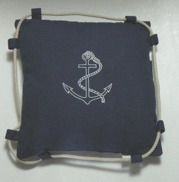 Nautical Decor - 1415 Nautical Pillow, Navy Blue With Anchor Design