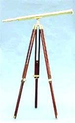 1605 - Brass Telescope on hardwood stand - Jonesport Nautical Gifts