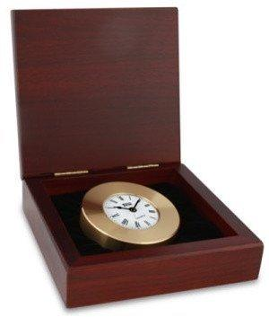 Nautical Gifts - 664 Mahogany Box W/Brass Chart Weight Clock