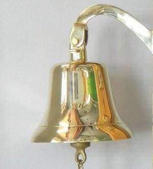 "10"" Large Brass Bell with Bracket, a heavy bell with a deep tone."