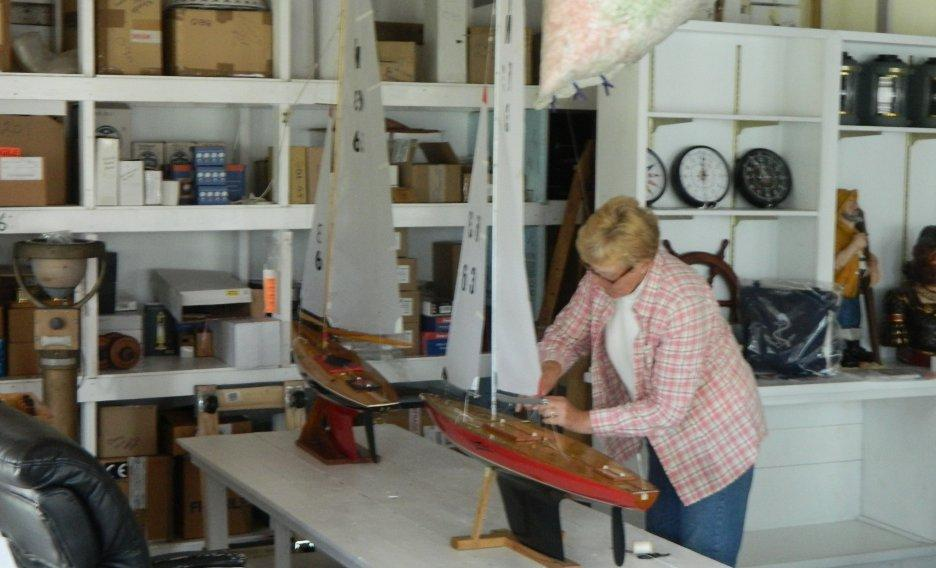 Staff working on Sailboat Model