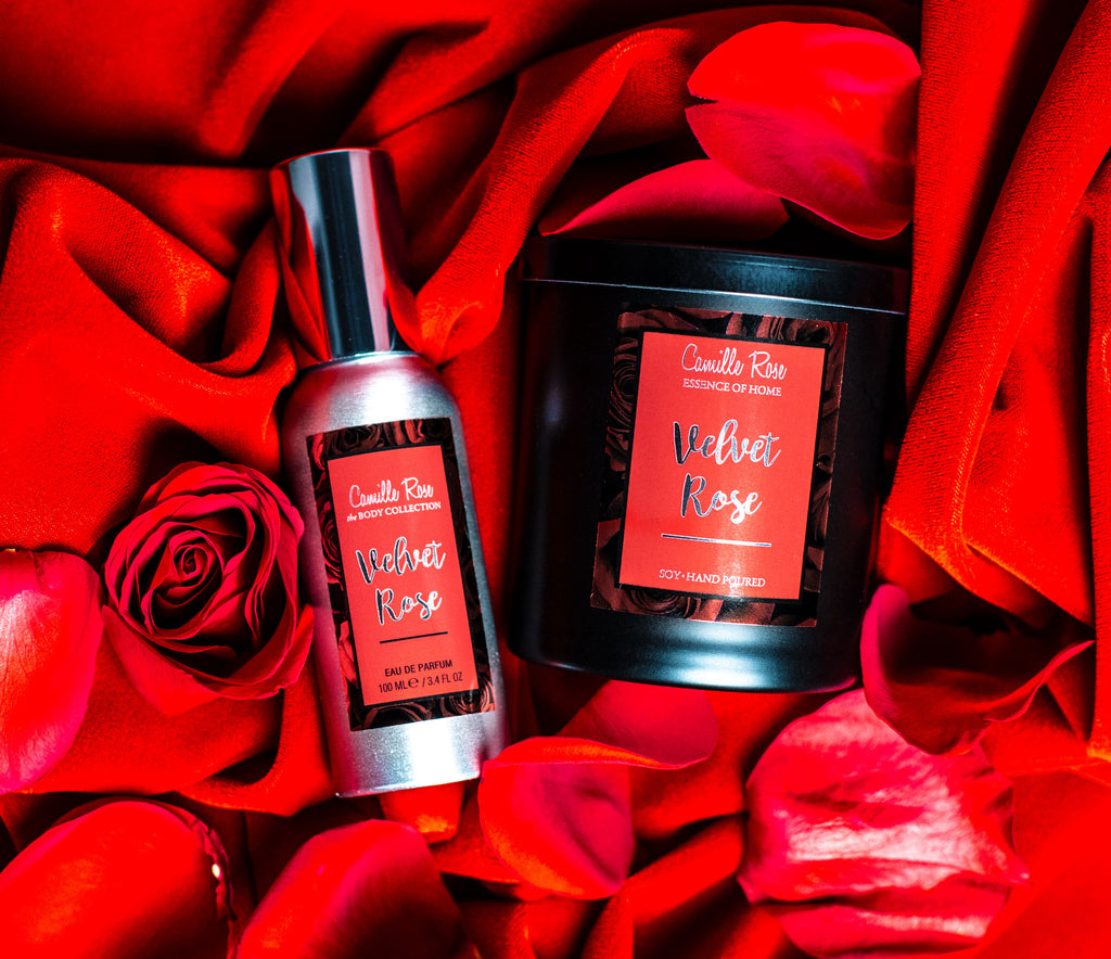 New Velvet Rose Eau De Parfum and Candle Gift Set by Camille Rose