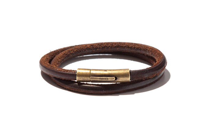 Urban Leather Double Wrap Bracelet with Brass