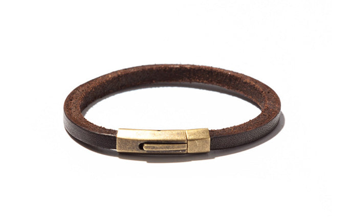 Squared Urban Leather Bracelet with Brass