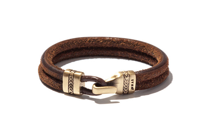 Urban Leather Double Row Bracelet with Herringbone Closure
