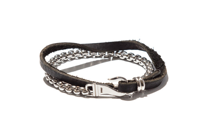 Urban Leather and Serpentine Chain Double Wrap Bracelet