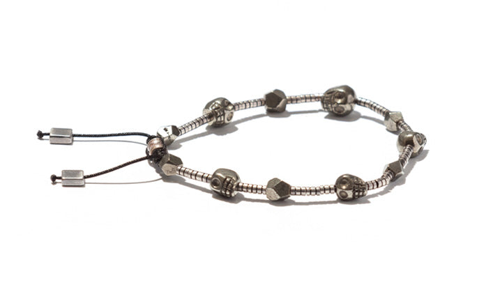 Pyrite Bracelet Accented with Skulls and Silver Elements